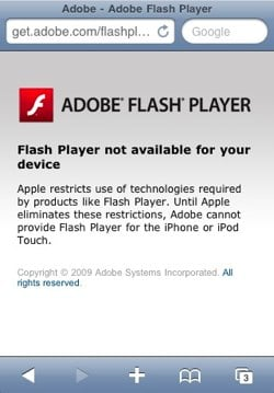 iPhone avviso Flash