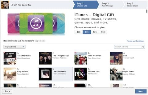 iTunes Card Facebook